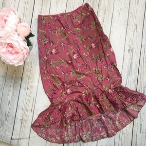 Odille Pink Floral High Low Skirt
